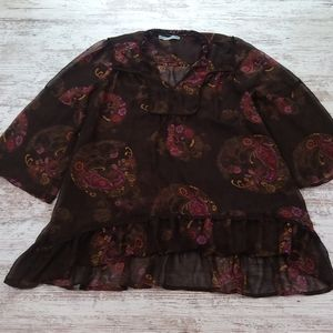 Maurices Brown & Pink Paisley Sheer Blouse Top